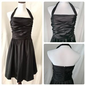 WHBM shiny satin halter party prom dress 10